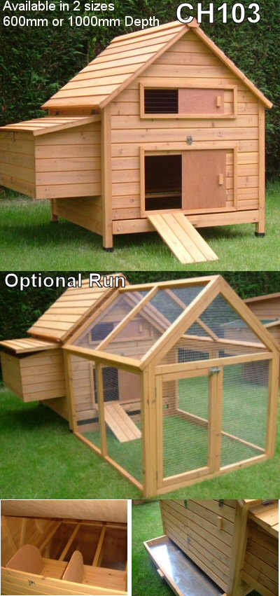 ch103 chicken coop comes with an optional chicken run